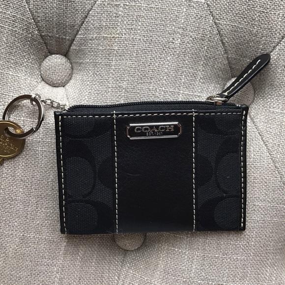 ec7a0e005a3c0 NWT Black Coach Small Mini Card ID holder wallet